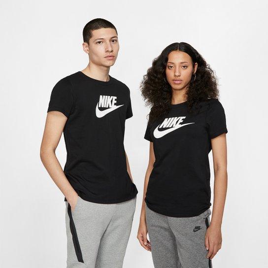 Camiseta Nike Essentials Icon Futura Feminina - Preto+Branco