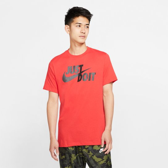 Camiseta Nike Estampa Just Do It Swoosh Masculina - Vermelho+Preto