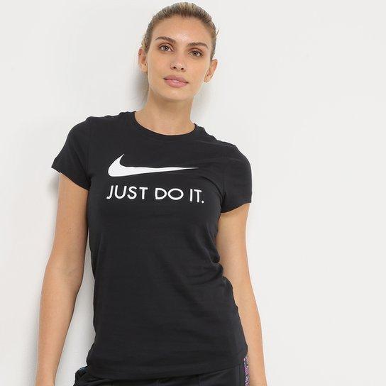 Camiseta Nike Just Do It Slim Feminina - Preto+Branco