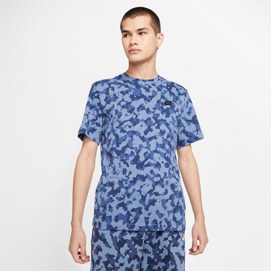 Camiseta Nike Sportwear Club Oap Camuflada Masculina - Azul