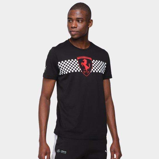 Camiseta Puma Ferrari Race Checkered Flag Masculina - Preto