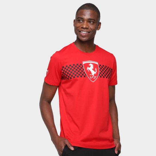 Camiseta Puma Ferrari Race Checkered Flag Masculina - Vermelho