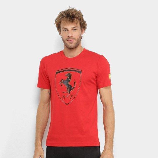 Camiseta Puma SF Big Shield Masculina - Vermelho