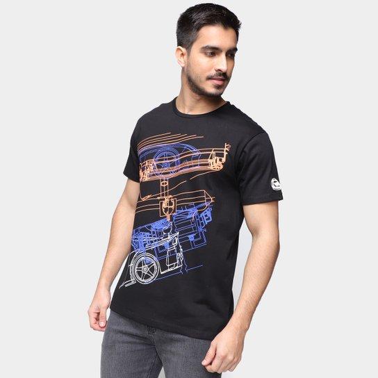 Camiseta RB111 Rubens Barrichello Retrô Masculina - Preto