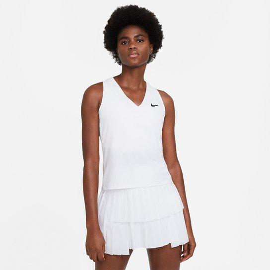 Camiseta Regata Nike Court Victory Feminina - Branco+Preto
