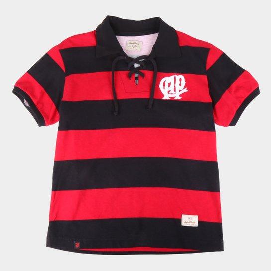 Camiseta Retrô Juvenil Athletico Paranaense 1924 Retrô Mania - Vermelho+Preto