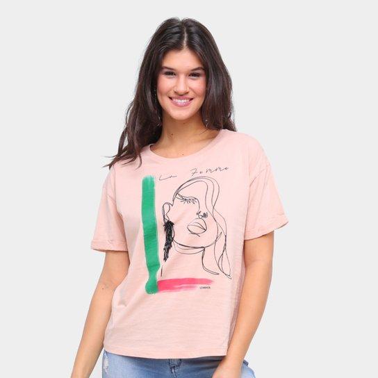 Camiseta Sommer Básica La Femme Feminina - Bege