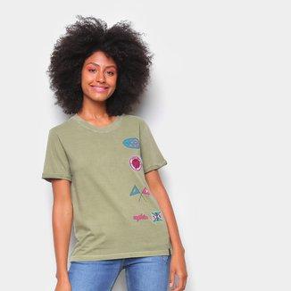 Camiseta T-Shirt Cantão Slim Patches Feminina