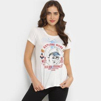 Camiseta T-Shirt Carmim Bulldog Ocean Feminina