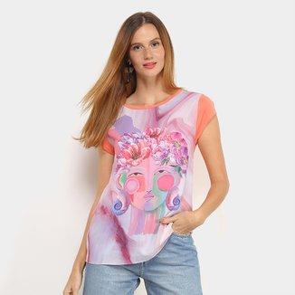 Camiseta T-Shirt Carmim Folhagem Feminina