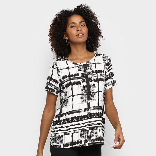 Camiseta Triton P&B Square Feminina - Off White+Preto