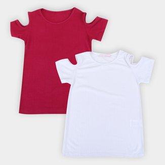 Camiseta Volare Canelada Recorte Ombro Feminina