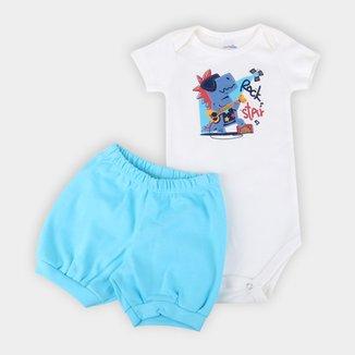 Conjunto Bebê Candy Kids Body E Shorts Suedine Rock Star Masculino