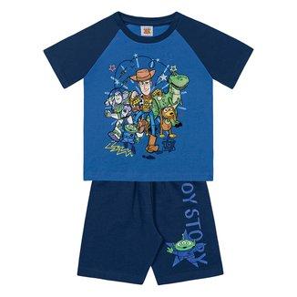Conjunto Bebê Fakini Toy Story Camiseta Malha + Bermuda Moletinho Masculino