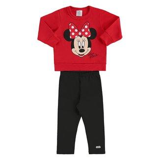 Conjunto Bebê Moletom Disney Minnie Feminino