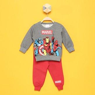 Conjunto Bebê Moletom Marvel By Marlan Avengers Masculino
