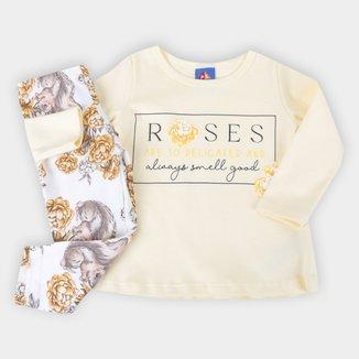 Conjunto Bebê Pipa Roses Feminino