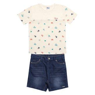 Conjunto Bebê Trick Nick Camiseta Malha Flamê e Bermuda Jeans Masculino