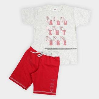 Conjunto Infantil Elian Camiseta E Bermuda Moletinho Adventure Masculino