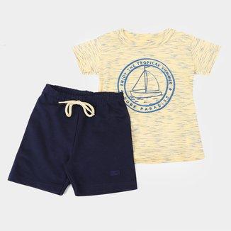 Conjunto Infantil Elian Fuzzi Bermuda Moletinho Masculino