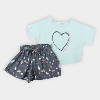 Conjunto Infantil Hering Blusa E Shorts Feminino