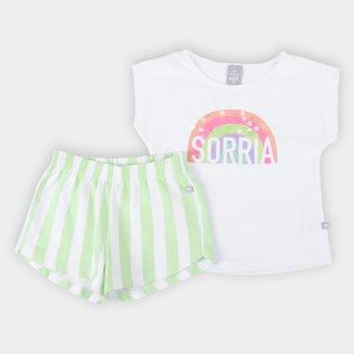 Conjunto Infantil Hering Camiseta Corações + Short Feminino