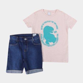 Conjunto Infantil Hering T. Rex Camiseta + Bermuda Jeans Masculino