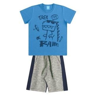 Conjunto Infantil Kamylus Dinossauro Camiseta + Bermuda Masculino