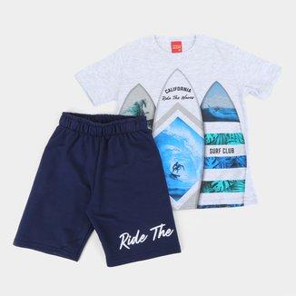 Conjunto Infantil Kyly Bermuda Moletom E Camiseta Surf Club Masculino