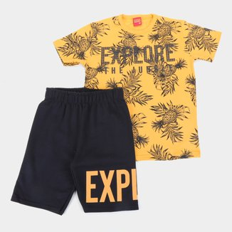 Conjunto Infantil Kyly Camiseta E Bermuda Moletom EXP Masculino