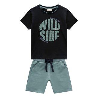 Conjunto Infantil Milon Camiseta E Bermuda Wild Side Masculino