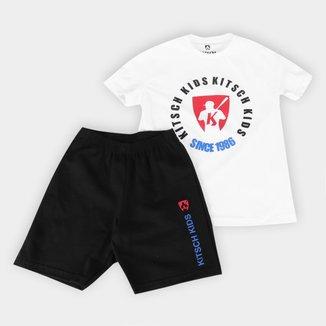 Conjunto Infantil MR. Kitsch Camiseta Big Logo + Short Liso Masculino