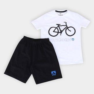 Conjunto Infantil MR. Kitsch Camiseta Bike + Short Liso Masculino