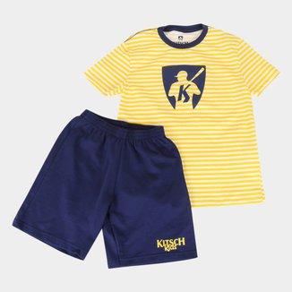 Conjunto Infantil MR. Kitsch Camiseta Listrada + Short Liso Masculino