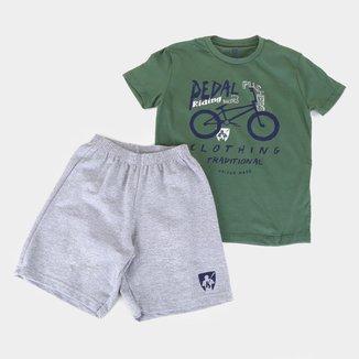 Conjunto Infantil MR. Kitsch Camiseta Pedal + Short Liso Masculino