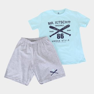 Conjunto Infantil MR. Kitsch Camiseta Trade Mark + Short Liso Masculino