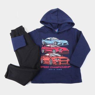 Conjunto Infantil Pipa Carros Com Capuz Masculino