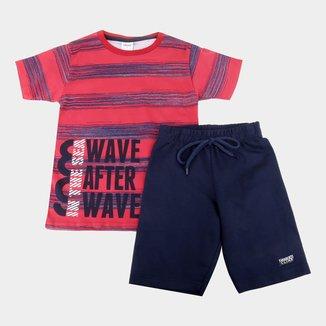 Conjunto Juvenil Elian Camiseta + Bermuda Masculino