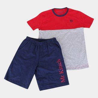 Conjunto Juvenil MR. Kitsch Camiseta Colorblock + Short Liso Masculino