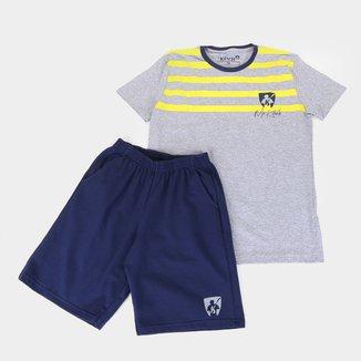 Conjunto Juvenil MR. Kitsch Camiseta Faixas + Short Liso Masculino
