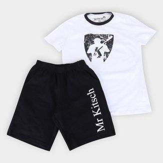 Conjunto Juvenil MR. Kitsch Logo Camiseta + Short Masculino