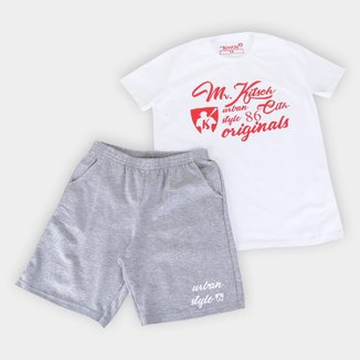 Conjunto Juvenil MR. Kitsch Urban Style Camiseta + Short Masculino