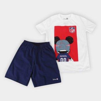 Conjunto Juvenil NFL Disney Camiseta e Bermuda Patriots Masculino