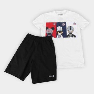 Conjunto Juvenil NFL Disney Camiseta e Bermuda Raiders Masculino