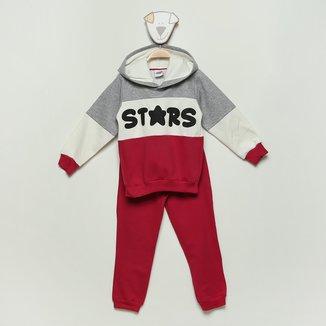 Conjunto Moletom Infantil Duzizo Stars Com Capuz Feminino