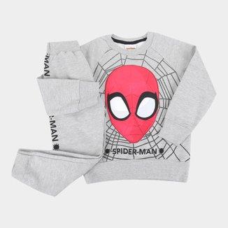 Conjunto Moletom Infantil Marvel Peluciado Spider-Man Masculino