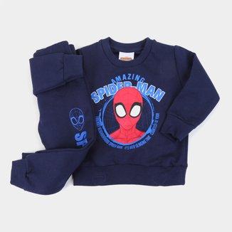 Conjunto Moletom Peluciado Marvel By Fakini Spider-Man Fakini Masculino