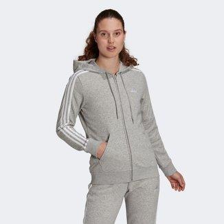 Jaqueta Moletom Adidas Capuz Zíper Essentials 3 Stripes Feminina