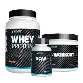 Kit 1 Whey Protein 900G + 1 Pré-Treino 300G + 1 BCAA 4-1-1 120 Tabls - Fitfast Nutrition