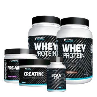 Kit 2 Whey Protein 900G + 1 Creatina Pura 100G + 1 Pré-Treino 300G + 1 BCAA 4-1-1